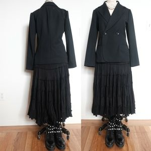Black Calypso Maxi Skirt tiered flare long large